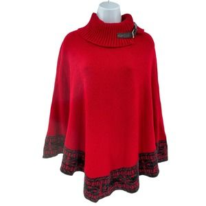 Loana Lady Sweater Poncho One Size Fits Most Red